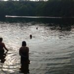 A group of swimmers in a lake
